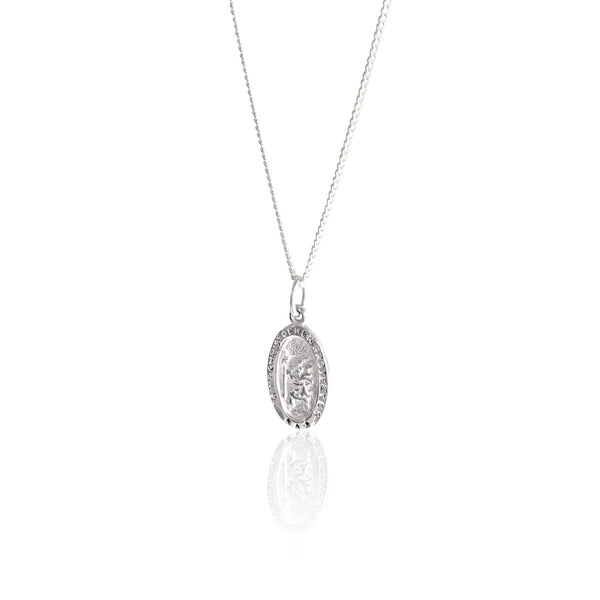 shop ethical sustainable & ethical clothing by La Luna Rose Jewellery St Christopher the Patron of Travel Charm Necklace (Silver)