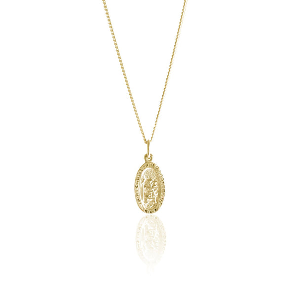 St Christopher the Patron of Travel Charm Necklace (Gold)
