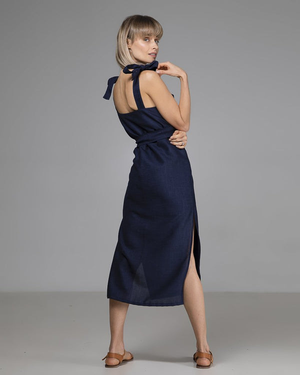 shop ethical sustainable & ethical clothing by Indecisive the label Limited Edition Kimmy Dress Navy