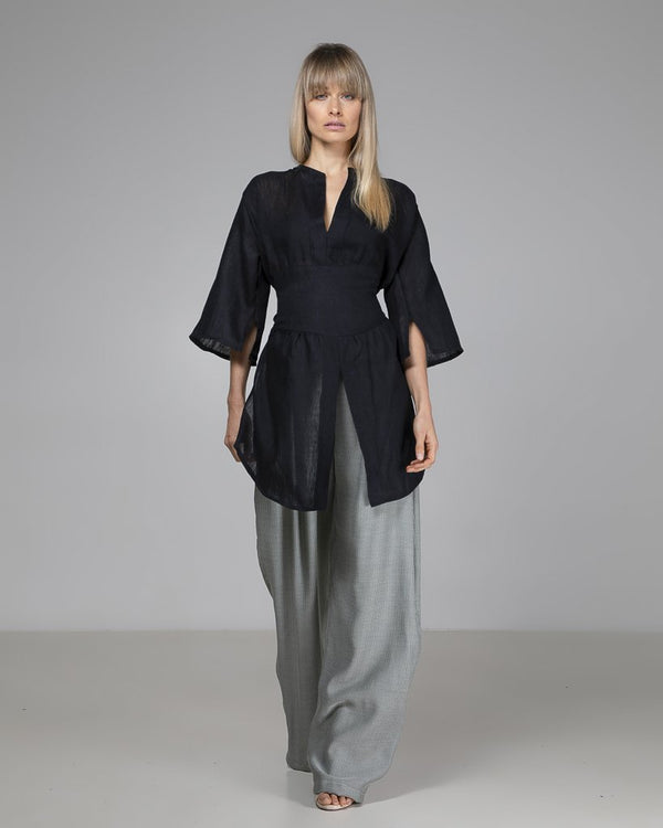 shop ethical sustainable & ethical clothing by Indecisive the label Black Linen Bailey Blouse
