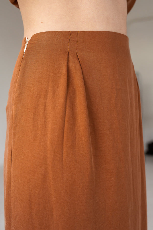 shop ethical sustainable & ethical clothing by Lois Hazel Straight Skirt, Terracotta