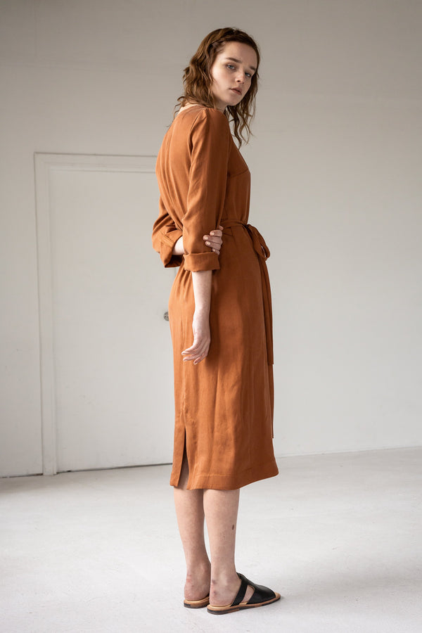 shop ethical sustainable & ethical clothing by Lois Hazel Wrap Dress, Terracotta