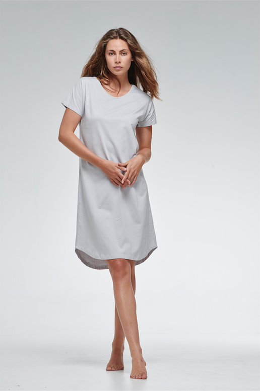 shop ethical sustainable & ethical clothing by Cloth & Co. Long T Dress | Dove Grey