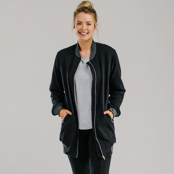 Sports luxe long bomber - BLACK