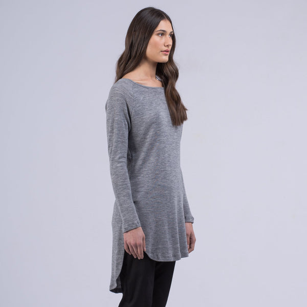 shop ethical sustainable & ethical clothing by Avila the label Merino Long pullover - Grey marle