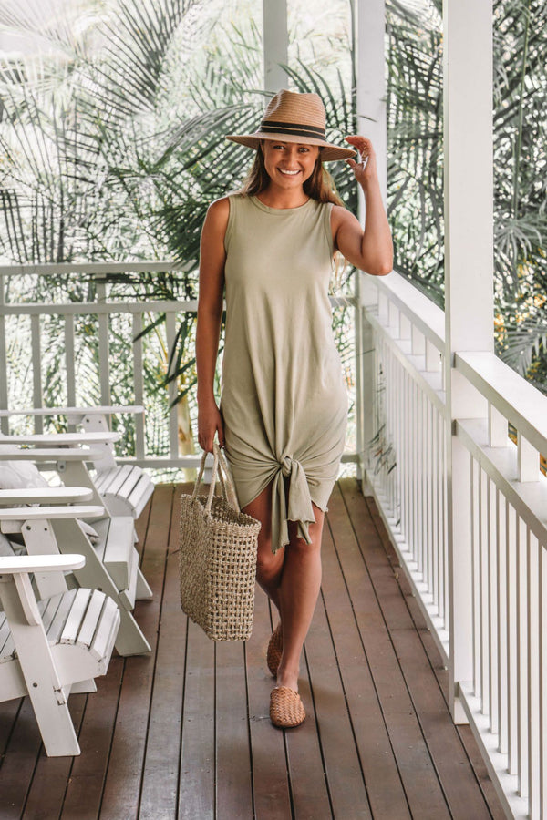 shop ethical sustainable & ethical clothing by Twill and Tee Lyla Tie Dress | Khaki