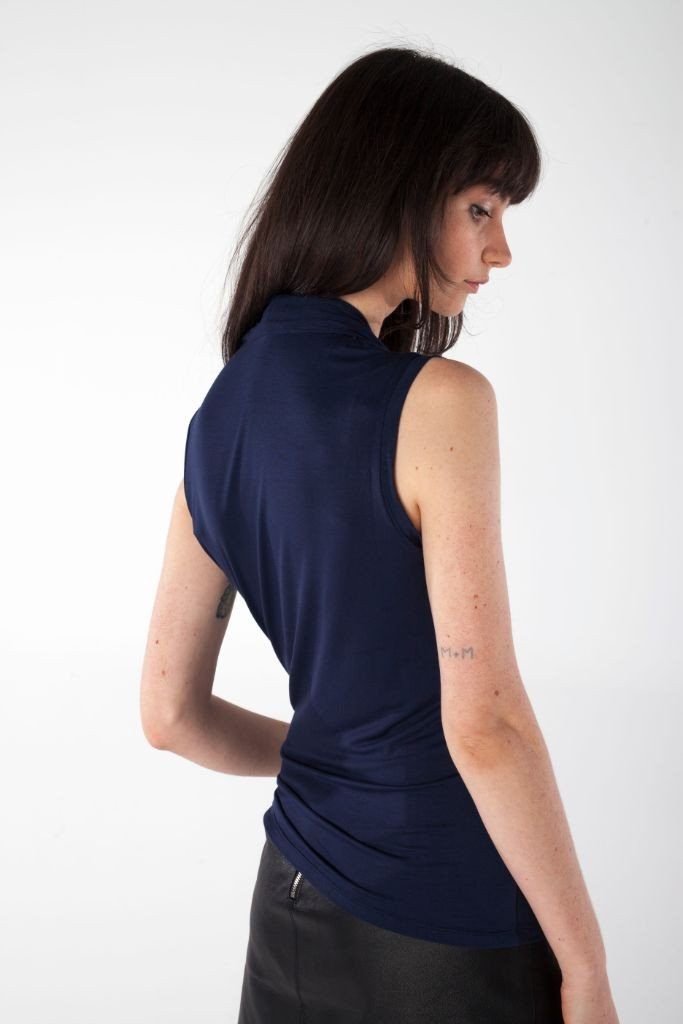 shop ethical sustainable & ethical clothing by UNCLE may DAKOTA navy blue v-neck bamboo top