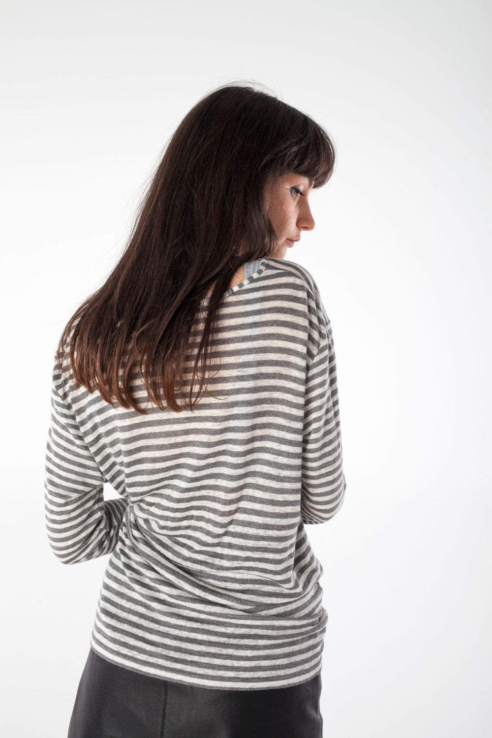shop ethical sustainable & ethical clothing by UNCLE may ANNIE grey/white striped tee