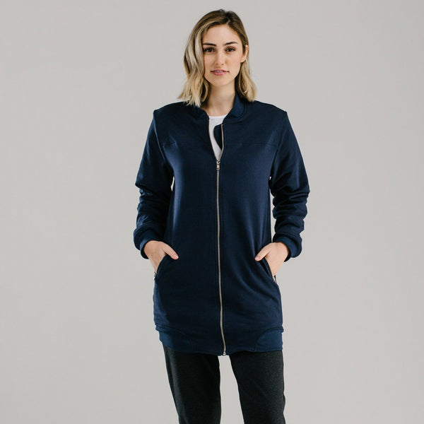 shop ethical sustainable & ethical clothing by Avila the label Sports luxe long bomber - NAVY