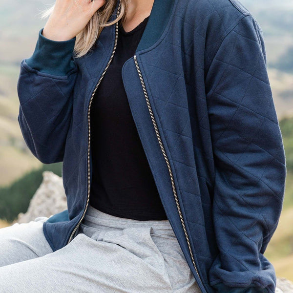 shop ethical sustainable & ethical clothing by Avila the label Navy Luxe Quilted bomber jacket