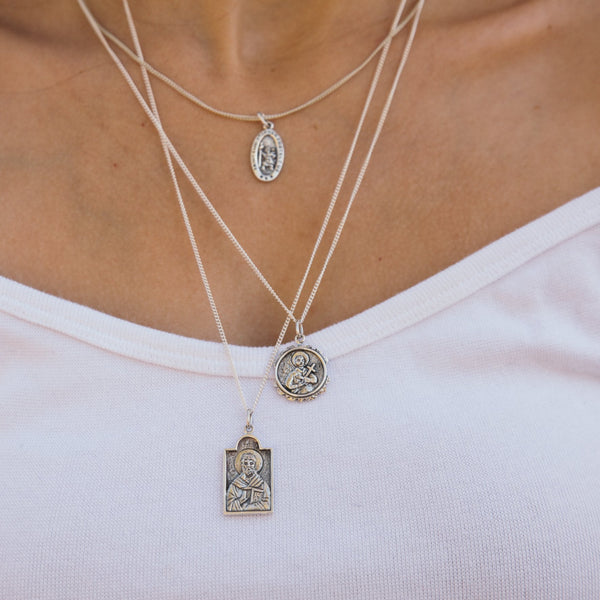 shop ethical sustainable & ethical clothing by La Luna Rose Jewellery St Gerard - Patron Saint of Motherhood - Silver