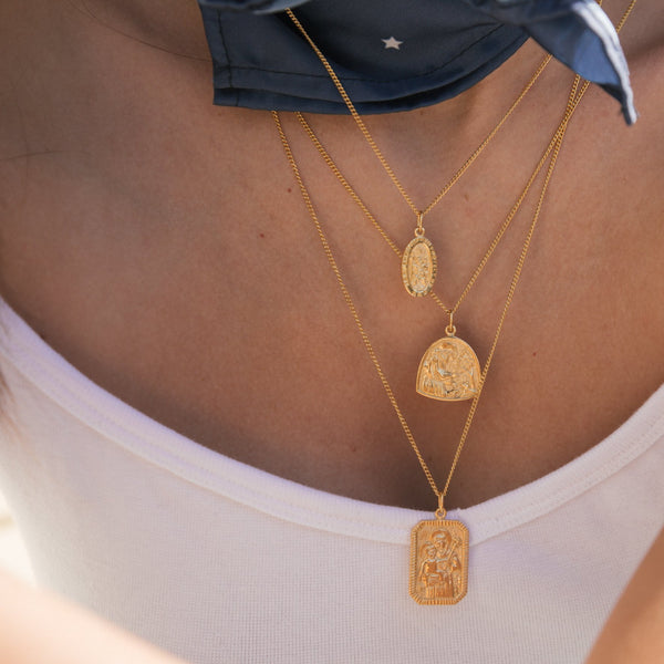 shop ethical sustainable & ethical clothing by La Luna Rose Jewellery St Assisi - Patron Saint of Animals & the Environment Necklace - Gold