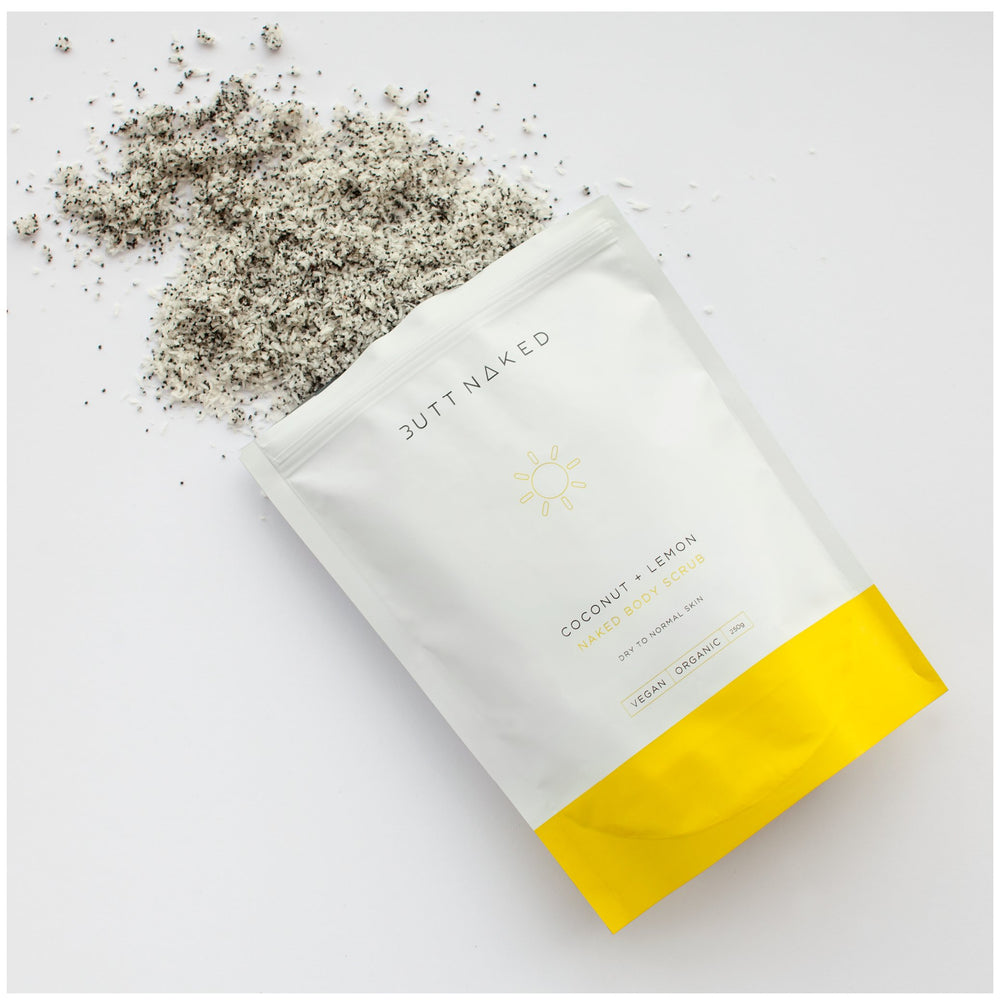 shop ethical sustainable & ethical clothing by BUTT NAKED SKINFOOD Coconut + Lemon Sugar Body Scrub 250g