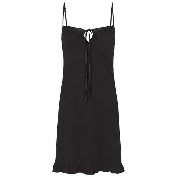 shop ethical sustainable & ethical clothing by Eco Intimates Marion slip with silk trim in black