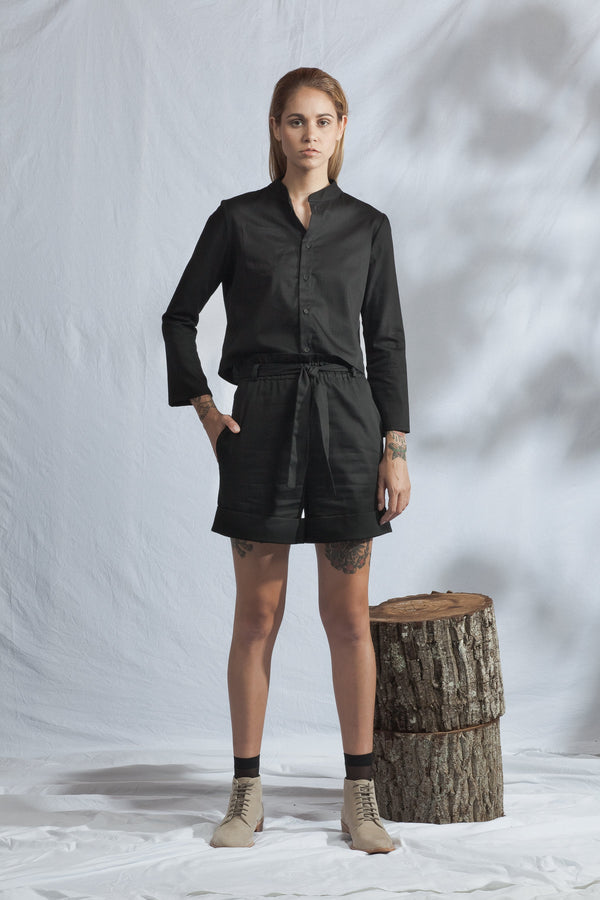 shop ethical sustainable & ethical clothing by ReCreate Clothing Abbreviate Shirt | Black Denim