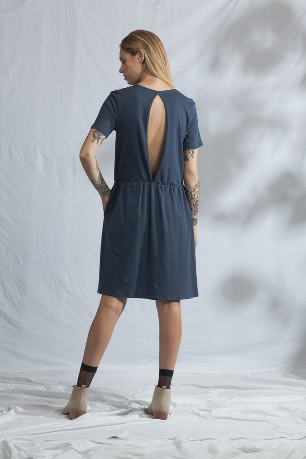 shop ethical sustainable & ethical clothing by ReCreate Clothing Aperture Dress | Soft Navy
