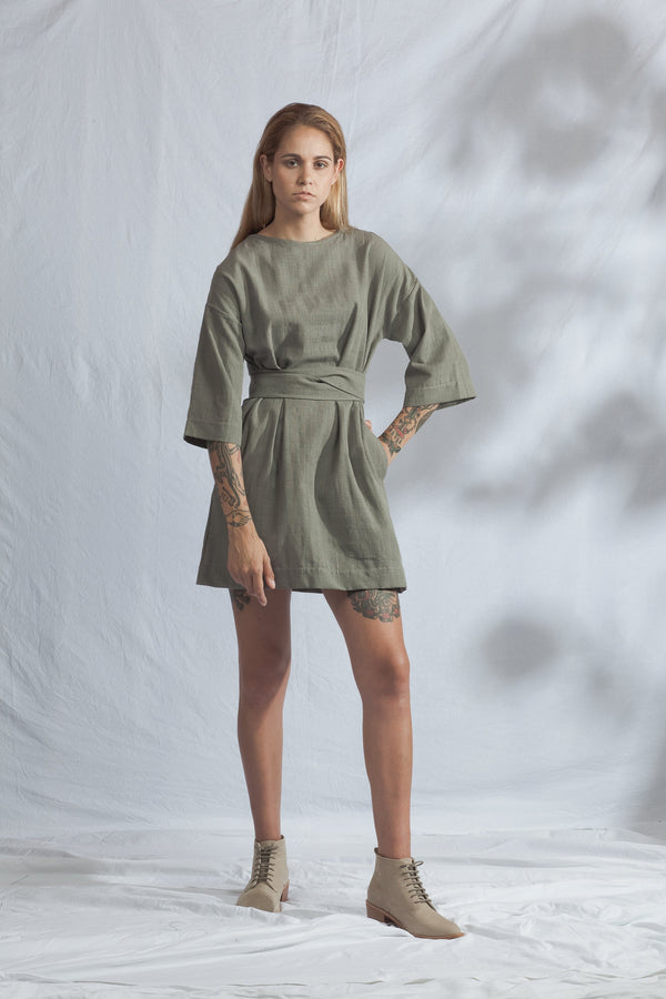 shop ethical sustainable & ethical clothing by ReCreate Clothing Array Handwoven Dress | Mossy Grey