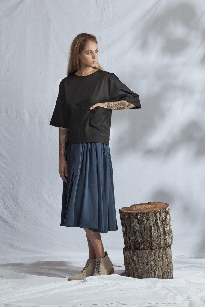 shop ethical sustainable & ethical clothing by ReCreate Clothing Block Tee | Black Denim