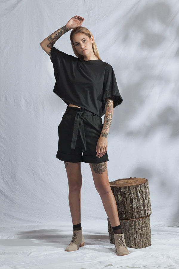 shop ethical sustainable & ethical clothing by ReCreate Clothing Ease Shorts | Black Denim