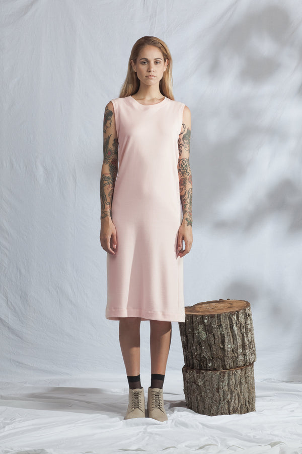 shop ethical sustainable & ethical clothing by ReCreate Clothing Pillar Dress | Dusky Pink