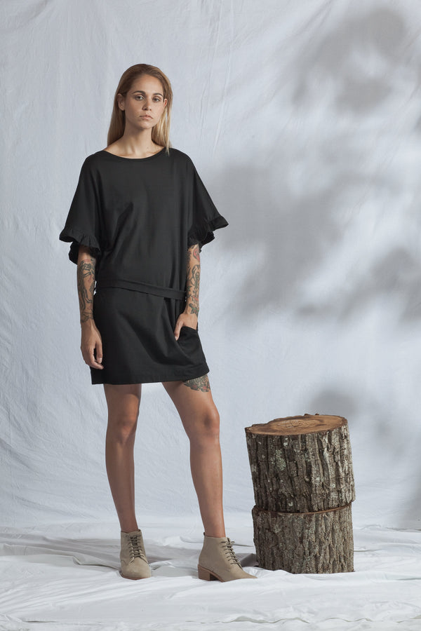 shop ethical sustainable & ethical clothing by ReCreate Clothing Ripple Reversible Dress | Black