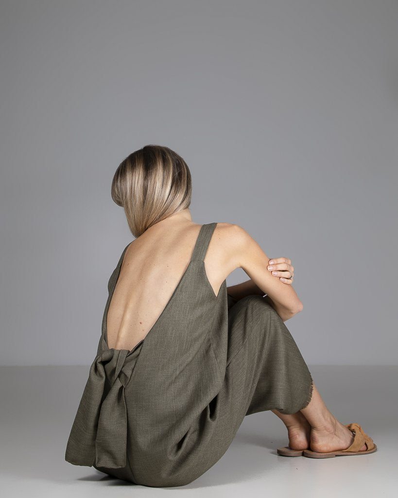 shop ethical sustainable & ethical clothing by Indecisive the label Limited Edition Sadie Jumpsuit Green