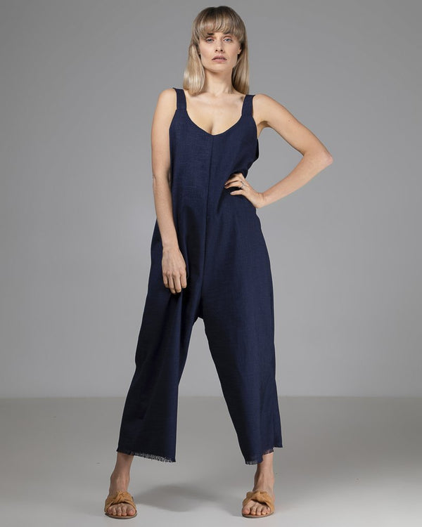 shop ethical sustainable & ethical clothing by INDECISIVE THE LABEL Limited Edition Sadie Jumpsuit Navy