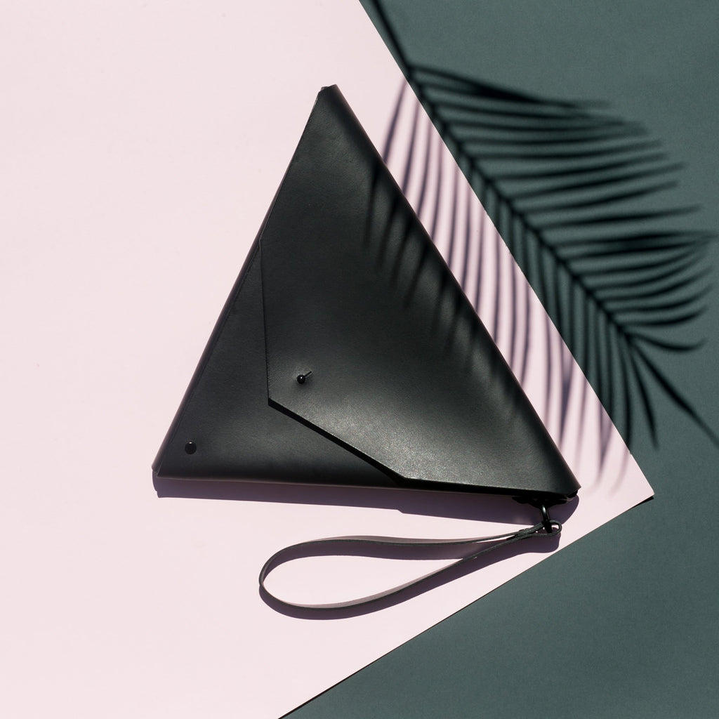 shop ethical sustainable & ethical clothing by Minima Handcrafted Triangle Clutch Nero