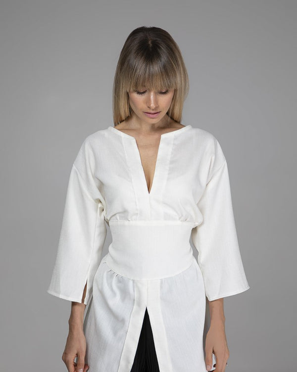 shop ethical sustainable & ethical clothing by Indecisive the label Cream Limited Edition Bailey Blouse