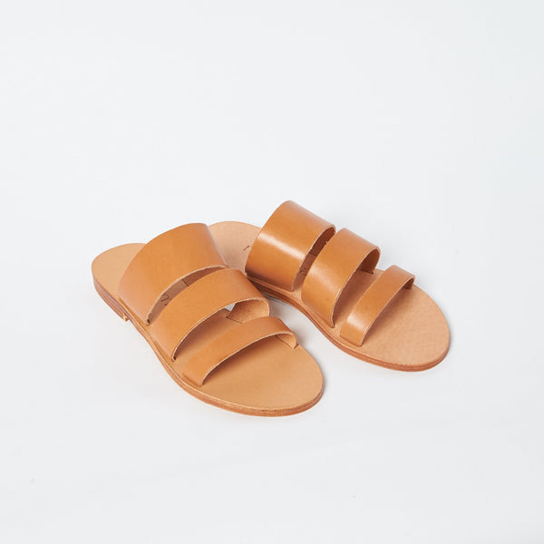 shop ethical sustainable & ethical clothing by MINIMA HANDCRAFTED Trinity Slide Tan
