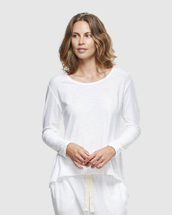 shop ethical sustainable & ethical clothing by Cloth & Co. Slub Long Sleeve Top | White