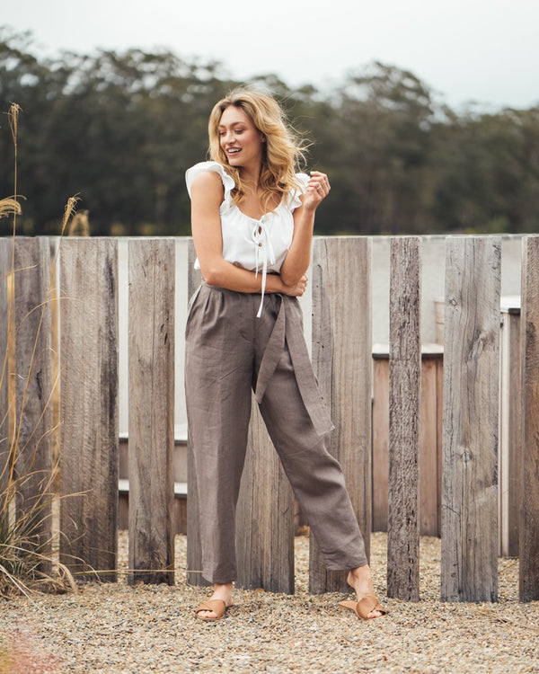 shop ethical sustainable & ethical clothing by Indecisive the label Linen Yayoi Pants Hazelnut