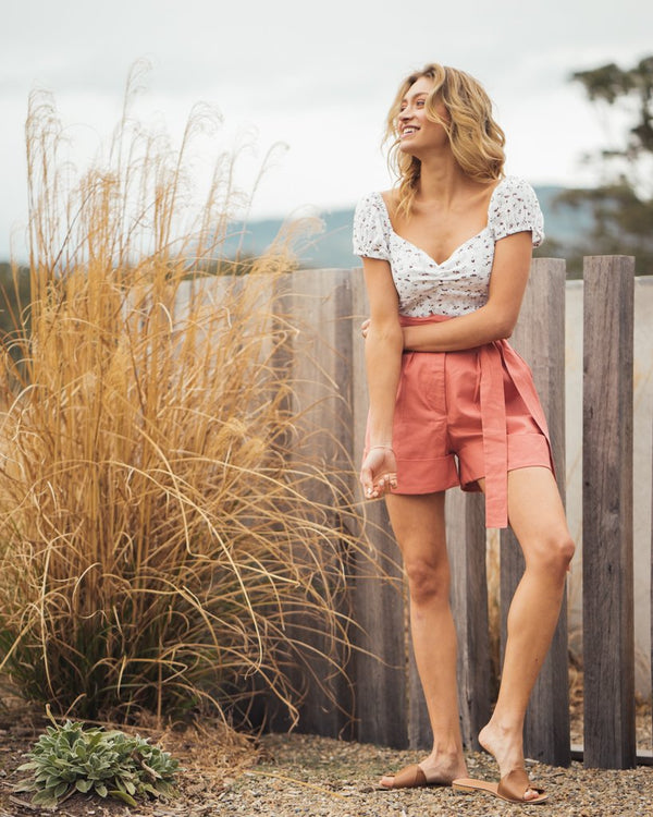 shop ethical sustainable & ethical clothing by Indecisive the label Linen Yayoi Shorts Pink