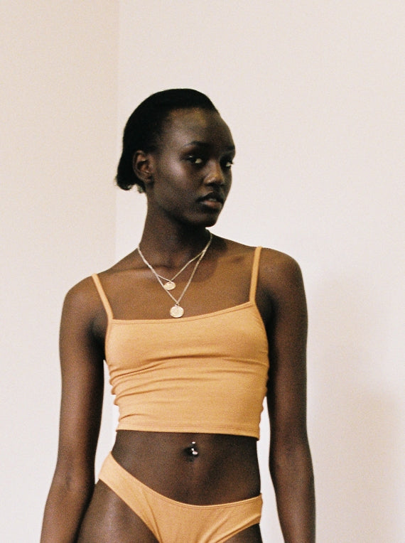 shop ethical sustainable & ethical clothing by Bare Boutique Aroha Long Crop in Apricot Tan