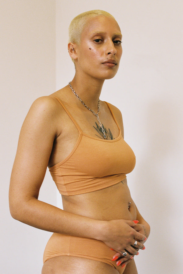 shop ethical sustainable & ethical clothing by BARE BOUTIQUE Koha Crop in Apricot Tan