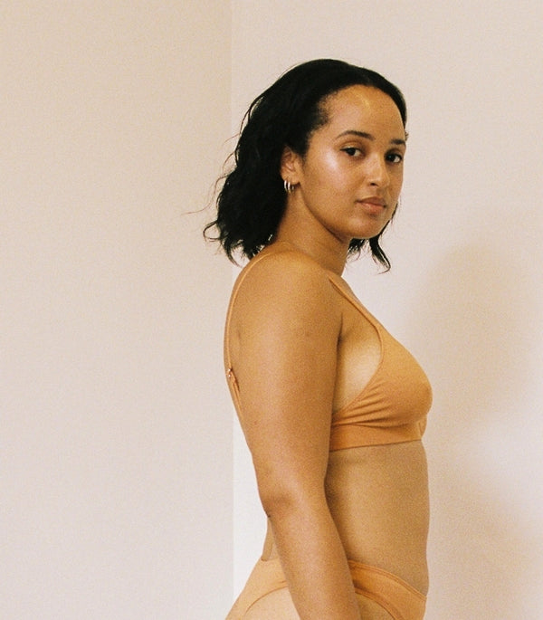 shop ethical sustainable & ethical clothing by BARE BOUTIQUE Awhi Bra in Apricot Tan