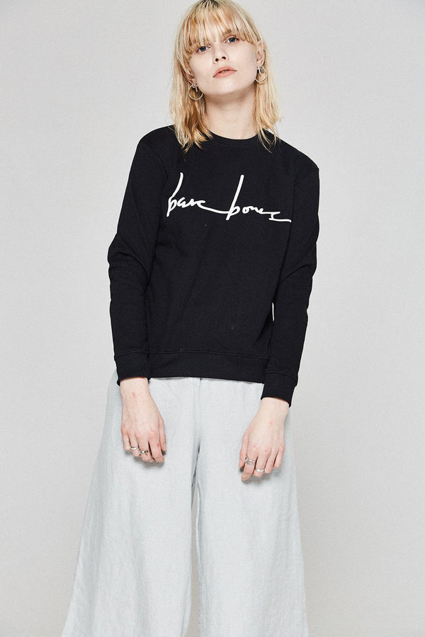 shop ethical sustainable & ethical clothing by Bare Bones Logo Sweater - Black
