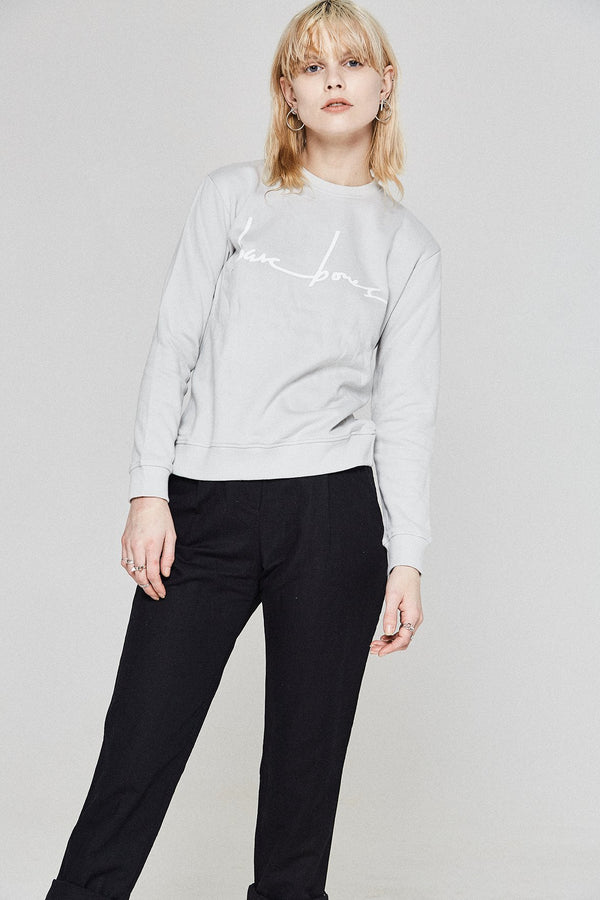 shop ethical sustainable & ethical clothing by Bare Bones Logo Sweater - Grey