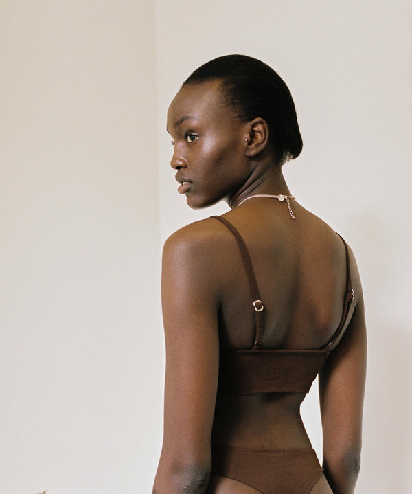shop ethical sustainable & ethical clothing by Bare Boutique Koha Crop in Dark Brown