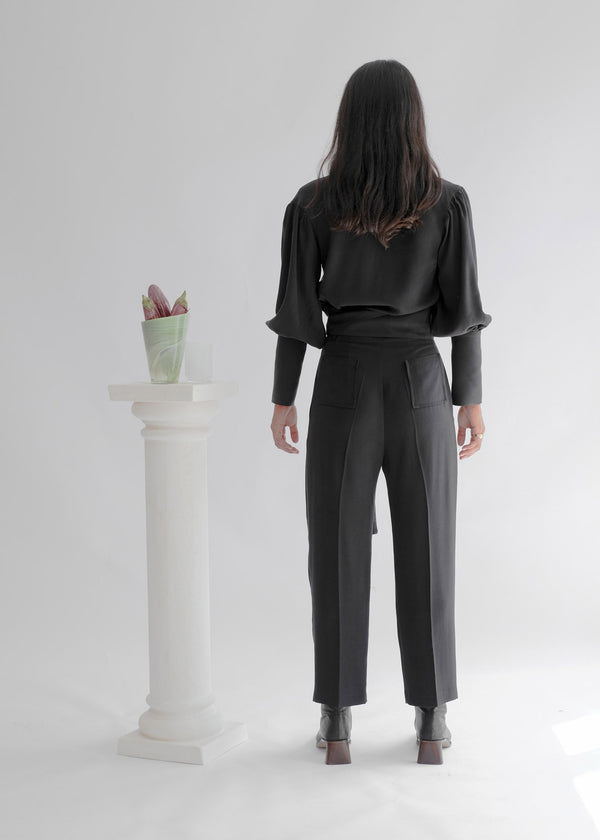 shop ethical sustainable & ethical clothing by OH SEVEN DAYS The Thursday Crease - Charcoal: High Waisted Tapered Trousers