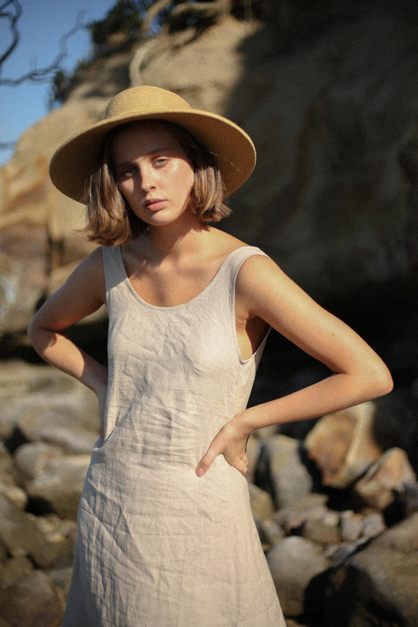 shop ethical sustainable & ethical clothing by MINA FOR HER Moya Dress Oatmeal