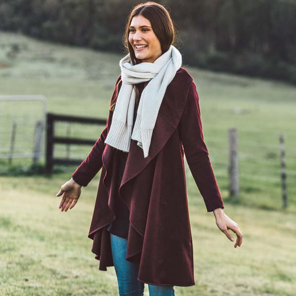 shop ethical sustainable & ethical clothing by AVILA Draped Jacket - Burgundy