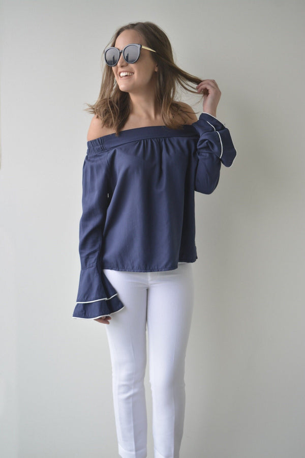 shop ethical sustainable & ethical clothing by MIN The Label THE COLD SHOULDER BLOUSE