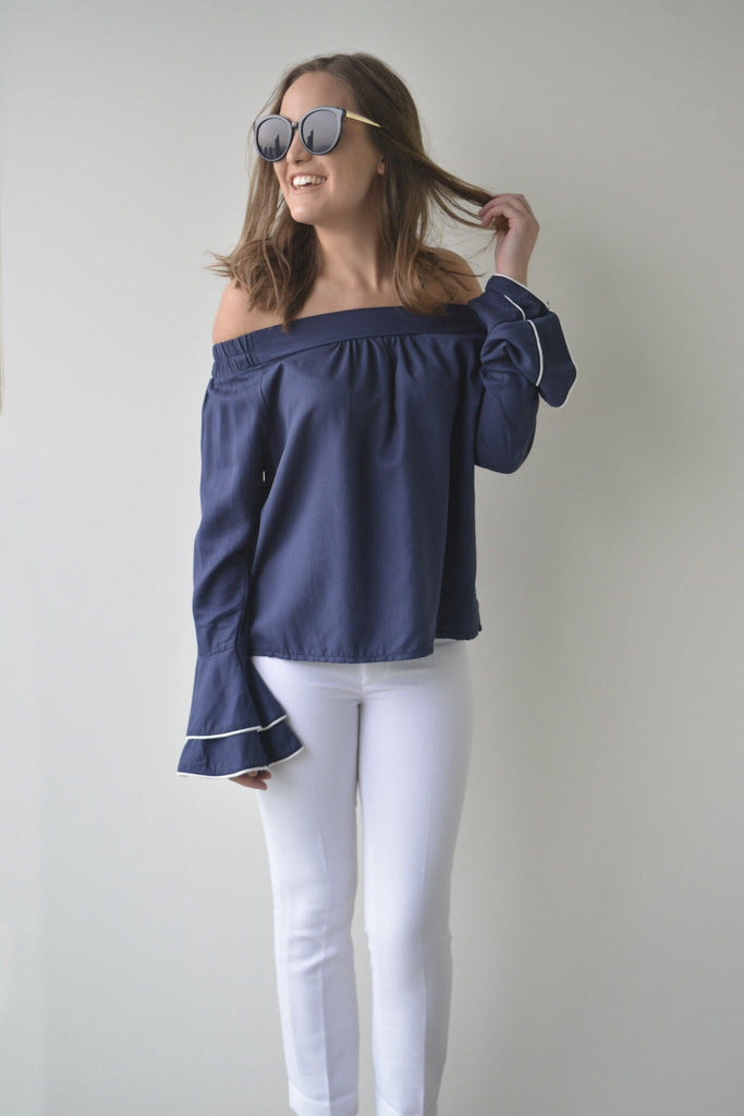 shop ethical sustainable & ethical clothing by MIN THE LABEL Cold Shoulder Blouse