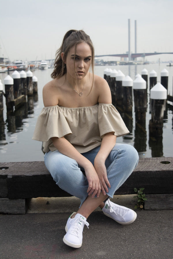 shop ethical sustainable & ethical clothing by MIN THE LABEL Classic Linen Sand Off Shoulder Top
