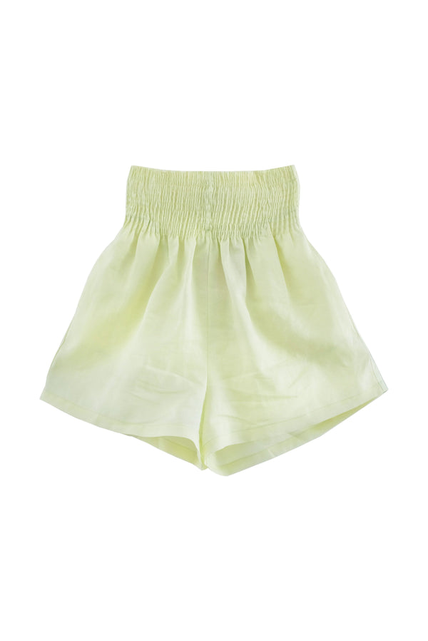 shop ethical sustainable & ethical clothing by OH SEVEN DAYS Sunday Scrunch Shorts Lime