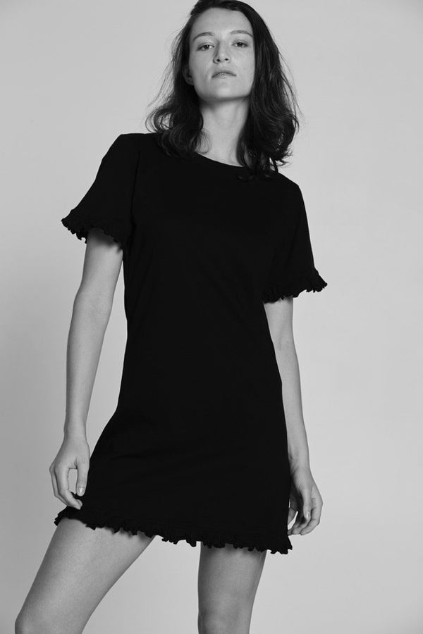shop ethical sustainable & ethical clothing by BARE BONES Frill Tee Dress - Black