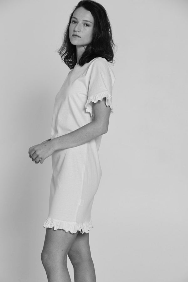 shop ethical sustainable & ethical clothing by BARE BONES Frill Tee Dress - White