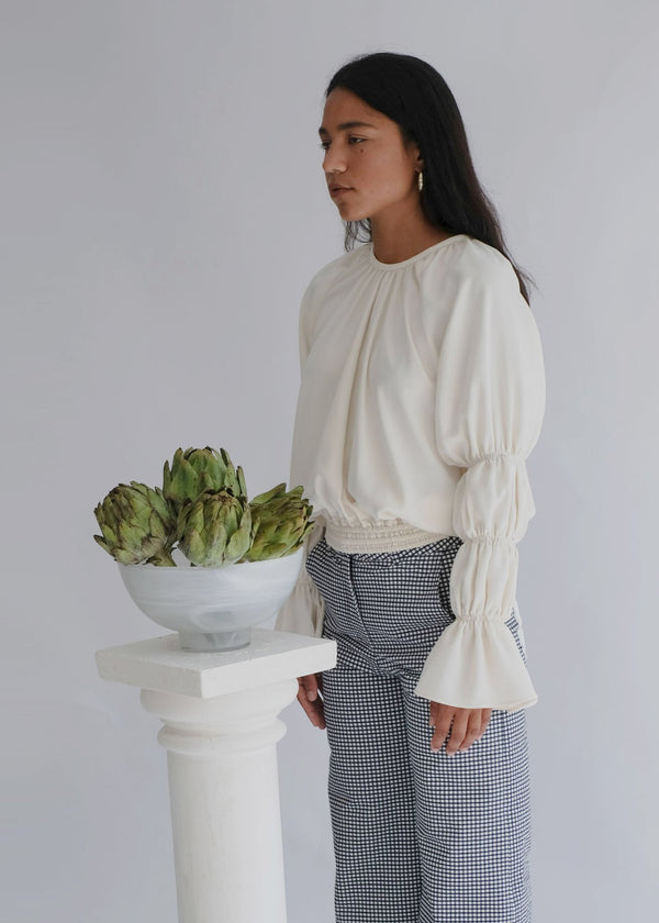 shop ethical sustainable & ethical clothing by OH SEVEN DAYS The Monday Marie Cream: Elasticated Puff Sleeve Blouse