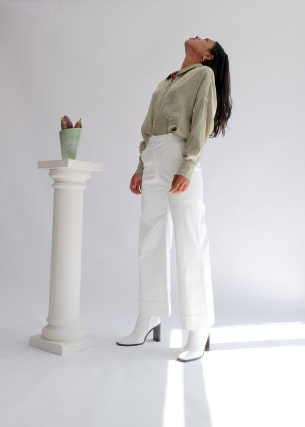 shop ethical sustainable & ethical clothing by OH SEVEN DAYS The Tuesday High Kick: Kick Flare High Waisted Trousers